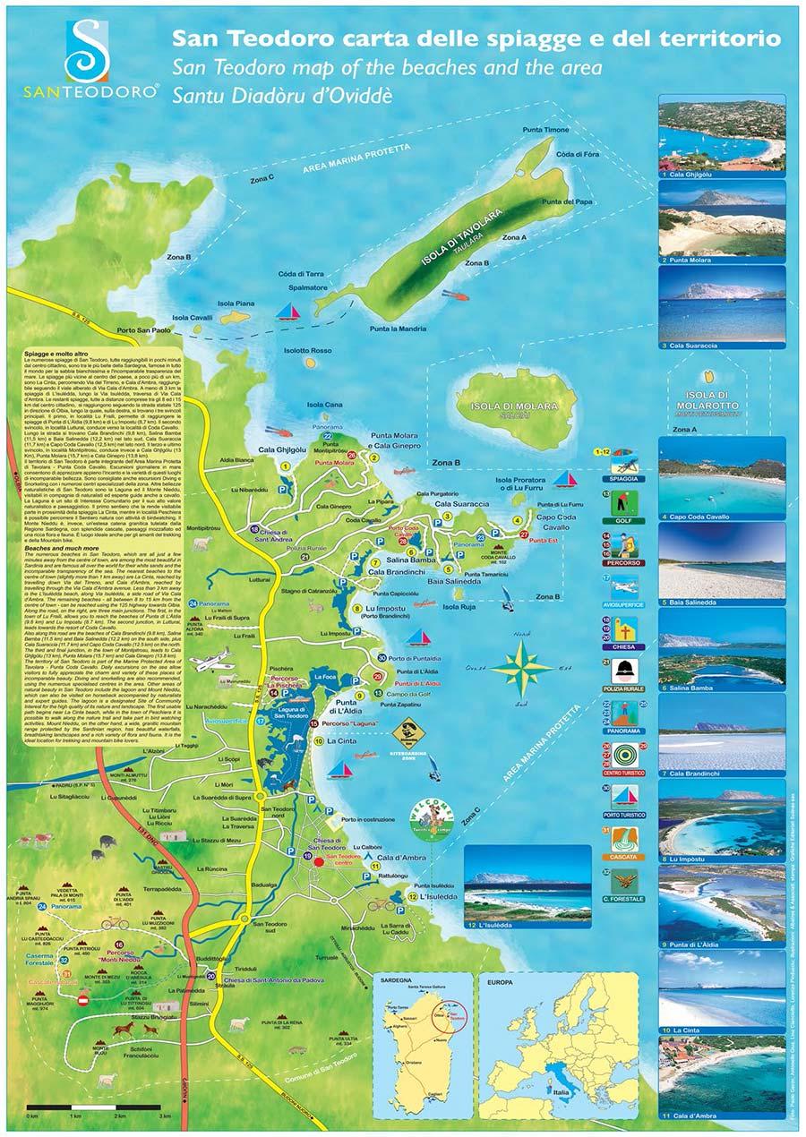 Isole Sardegna Cartina.Le Piu Belle Spiagge Di San Teodoro Scarica La Cartina