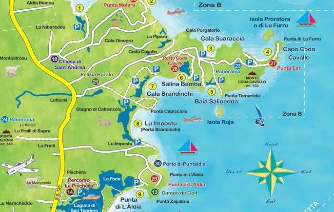 Sardegna Cartina Spiagge.La Cartina Delle Spiagge Di San Teodoro