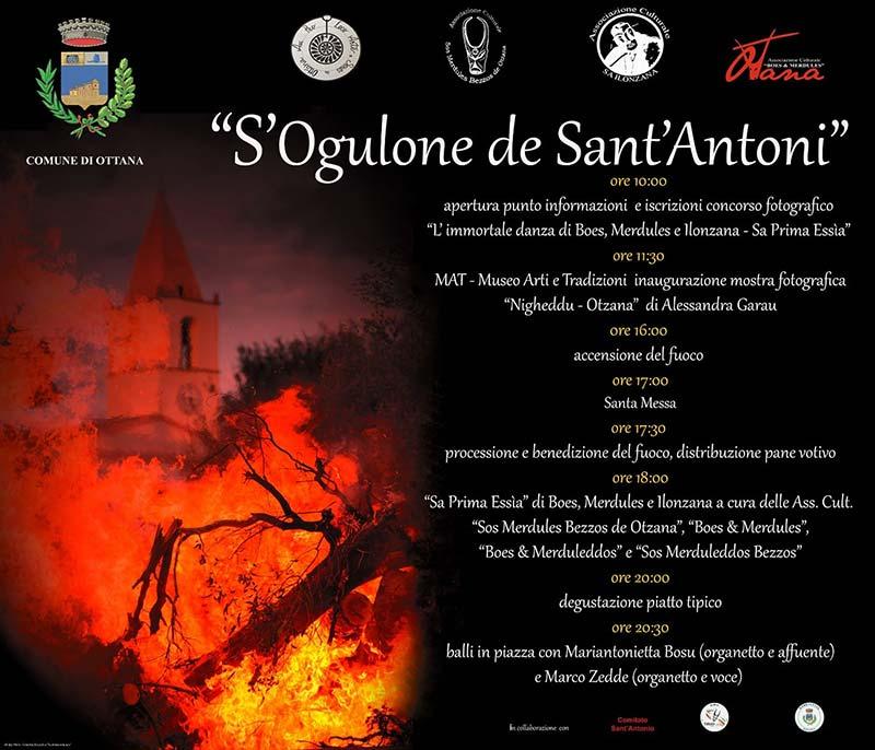 Fuochi Sant'Antonio Abate 2020 a Ottana