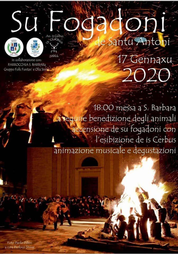 Fuochi Sant'Antonio Abate 2020 a Sinnai