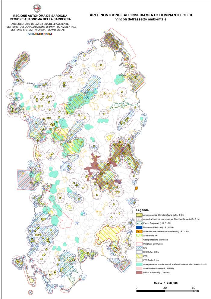 Mappa Km Sardegna.Mappa Delle Aree Non Idonee All Insediamento Di Impianti