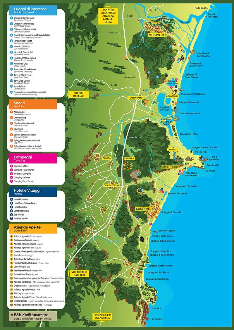 Spiagge Sardegna Cartina.La Cartina Delle Spiagge Piu Belle Fra Muravera E Costa Rei