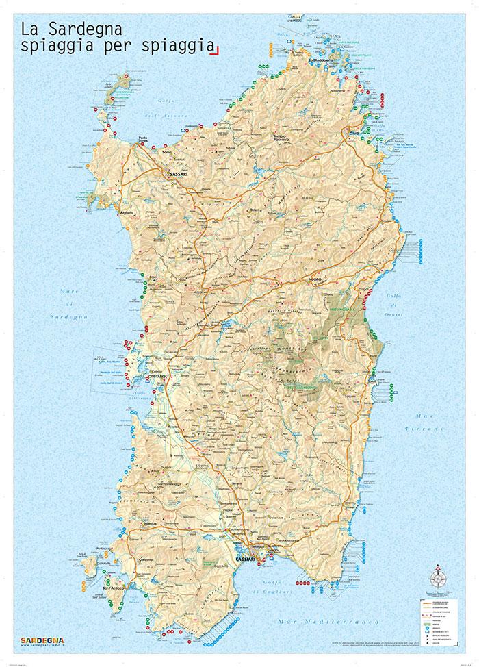 Sardegna Cartina Spiagge.La Cartina Delle Spiagge Della Sardegna Da Scaricare
