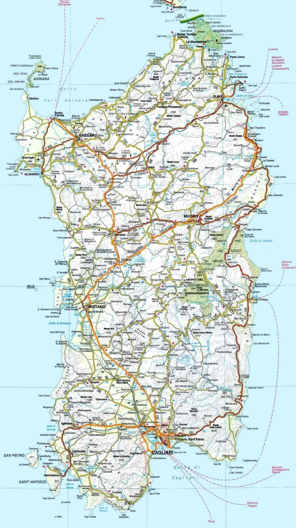 Cartina Sardegna Grande.Geografia Della Sardegna